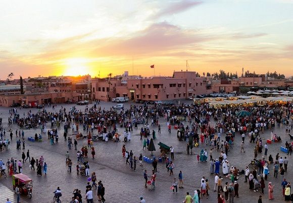 Panorama view of the Djemaa El Fna square in Marrakesh city during sunset. Marrakech, Morocco